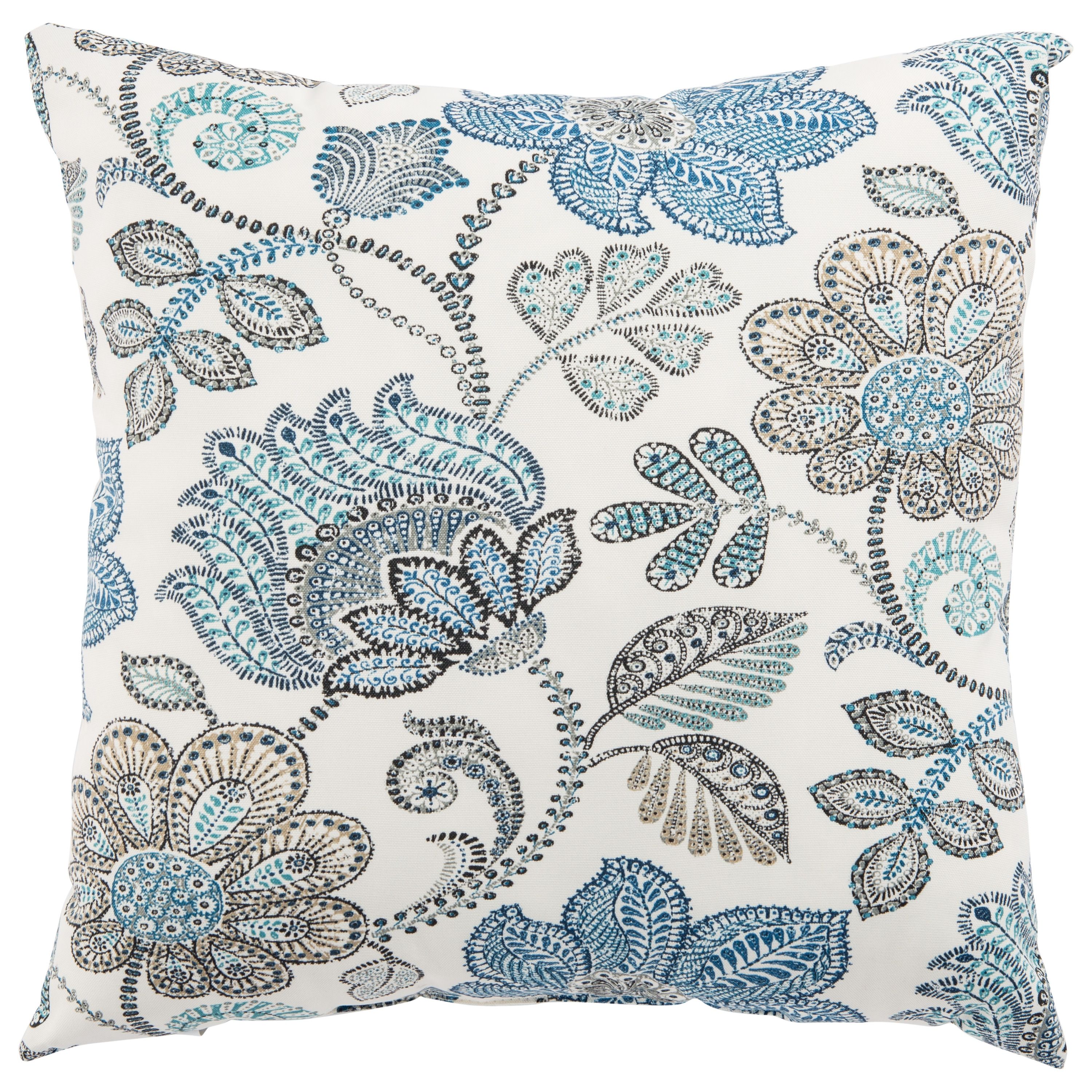 Indoor/ Outdoor Tania Floral White/ Blue 18-inch Throw Pillow (18X18)