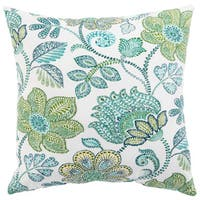 Indoor/ Outdoor Tania Floral Turquoise/ Green 18-inch Throw Pillow