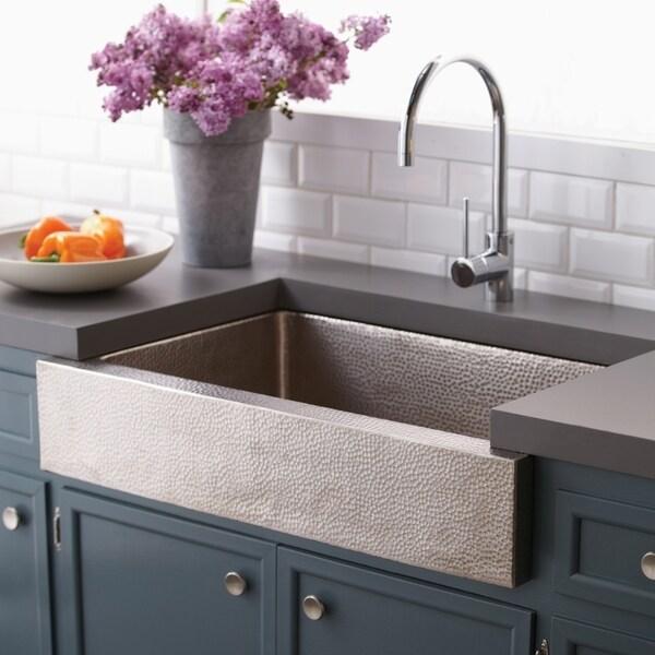 Paragon Brushed Nickel 33-inch Single Basin Farmhouse Kitchen Sink - Brushed nickel