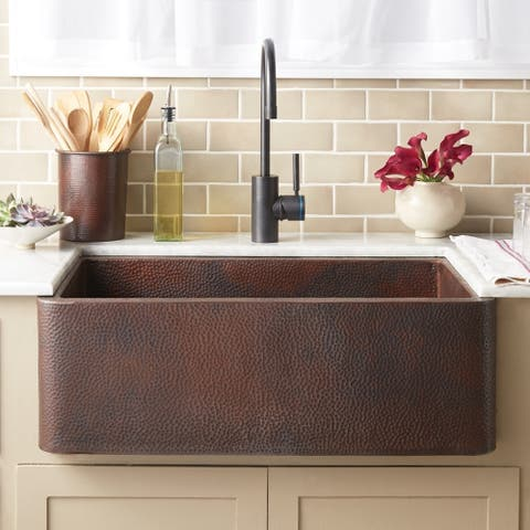 Farmhouse Antique Copper 30-inch Undermount/ Apron-Front Kitchen Sink