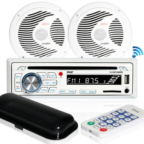Pyle PLCDBT65MRW Bluetooth Marine Stereo Radio Receiver & Waterproof Speaker Kit, Hands-Free Talking