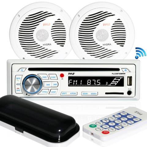 Pyle PLCDBT65MRW Bluetooth Marine Stereo Radio Receiver & Waterproof Speaker Kit, Hands-Free Talking