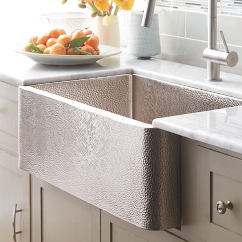 "Farmhouse Brushed Nickel 30-inch Undermount/ Apron-Front Kitchen Sink - 30"" x 18.5"" x 10"""