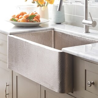 Farmhouse Brushed Nickel 30-inch Undermount/ Apron-Front Kitchen Sink - Brushed nickel