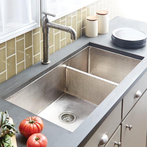 Cocina Duet Pro Hammered Brushed Nickel Double Bowl Kitchen Sink Overstock 18235234