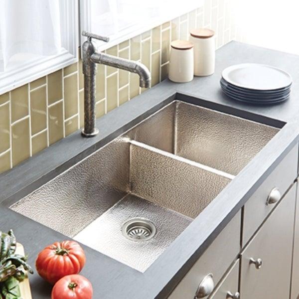 shop cocina duet pro hammered brushed nickel double bowl kitchen rh overstock com brushed nickel kitchen sink faucet brushed nickel kitchen sink taps