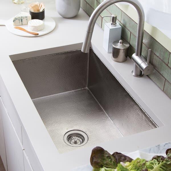 Cocina Hand Hammered Brushed Nickel 33 Inch Undermount Kitchen Sink 33 X 21 X 10 5 Overstock 18235235