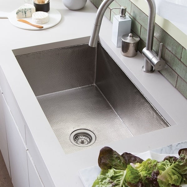 Shop Cocina Hand Hammered Brushed Nickel 33-inch Undermount Kitchen Sink - Brushed nickel - Free Shipping Today - Overstock - 18235235 & Shop Cocina Hand Hammered Brushed Nickel 33-inch Undermount Kitchen ...