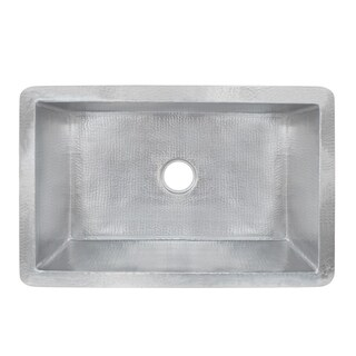 Cocina Hand Hammered Brushed Nickel 33-inch Undermount Kitchen Sink - Brushed nickel