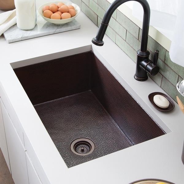 Cocina Hammered Antique Copper 30 Inch Undermount Kitchen Sink