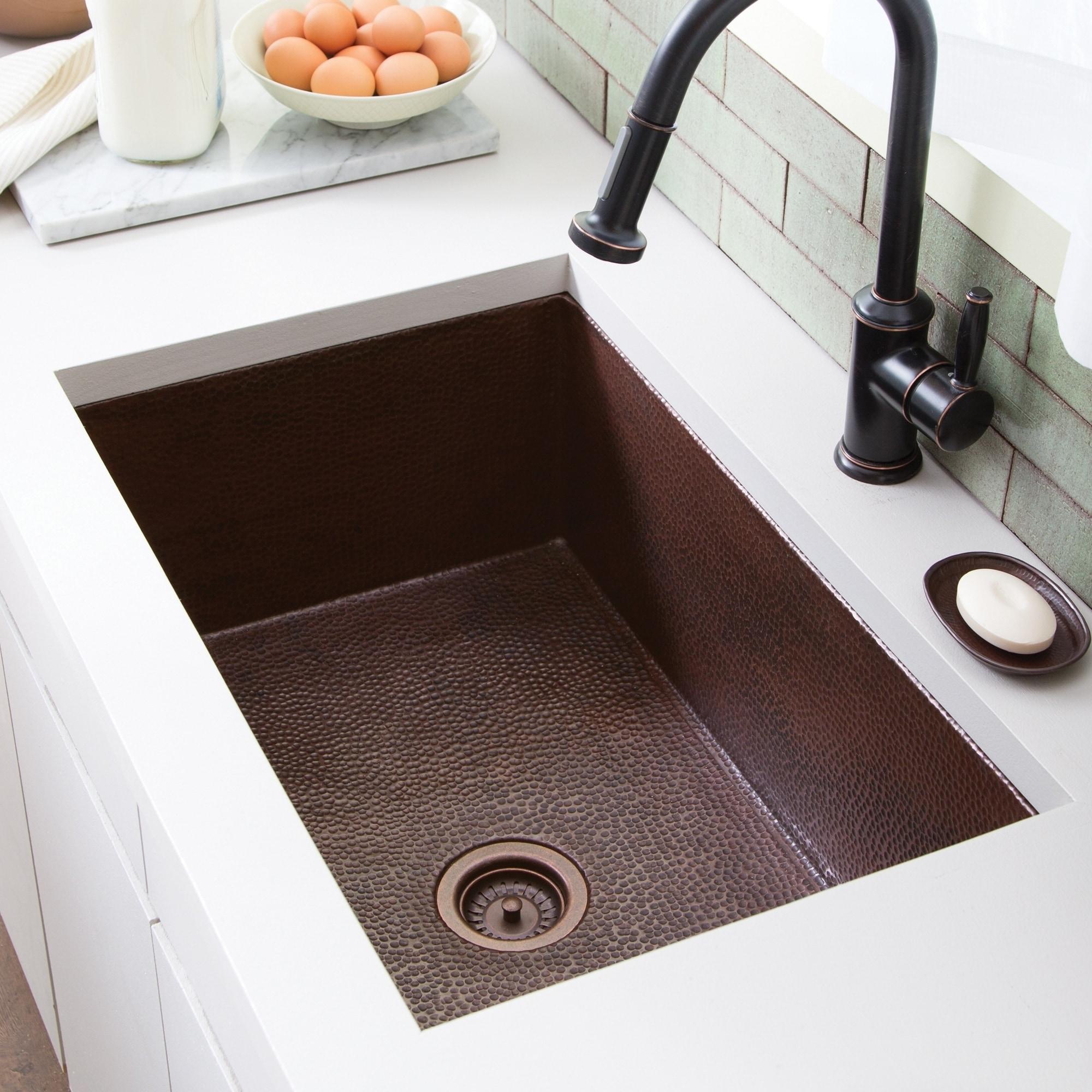 Cocina Hammered Antique Copper 30 Inch Undermount Kitchen Sink Overstock 18235236
