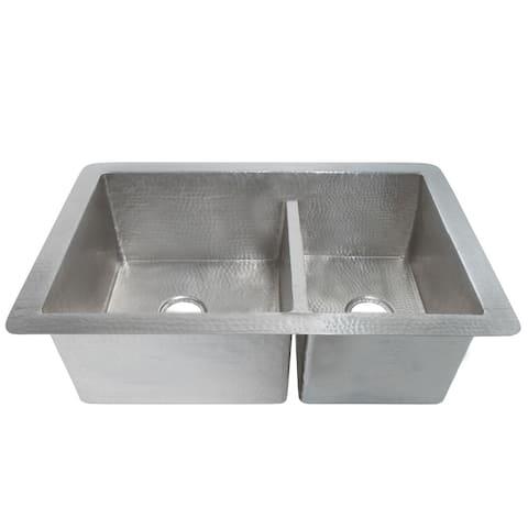 Cocina Duet Hammered Brushed Nickel Double Bowl Kitchen Sink
