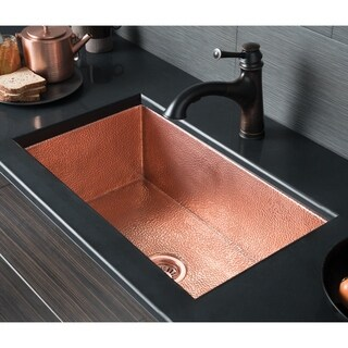 Cocina Hammered Polished Copper 30-inch Undermount Kitchen Sink