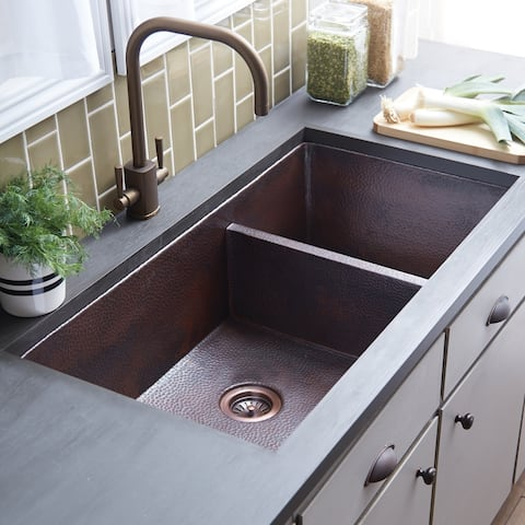 Cocina Duet Pro Hammered Antique Copper Double Bowl Kitchen Sink