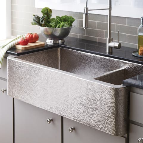 Farmhouse Duet Pro Brushed Nickel 40-inch Double Bowl Farmhouse Sink