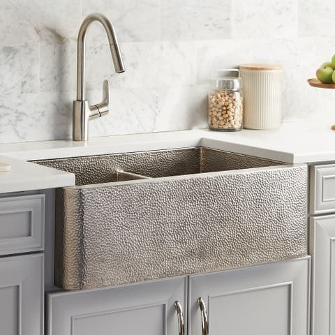 Farmhouse Duet Brushed Nickel Duet 33-inch Double Bowl Kitchen Sink