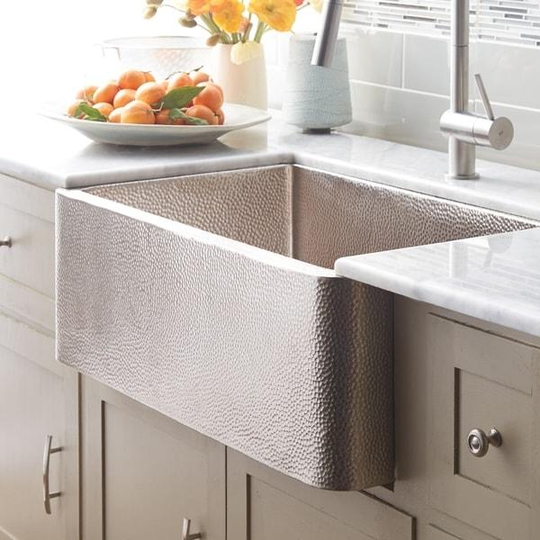 shop farmhouse brushed nickel 33 inch kitchen sink brushed nickel rh overstock com brushed nickel kitchen sink taps hammered nickel kitchen sink