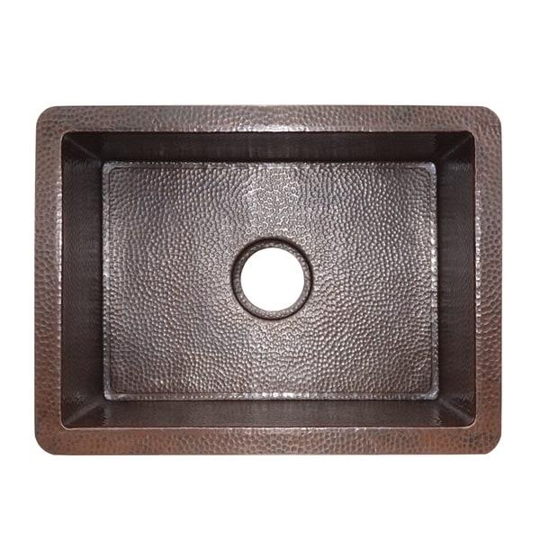 Cocina Hand Hammered Antique Copper 21-inch Undermount Kitchen Sink. Opens flyout.