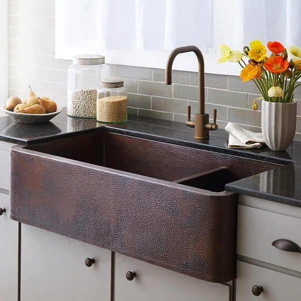 Farmhouse Duet Pro Antique Copper 40 Inch Double Bowl Sink