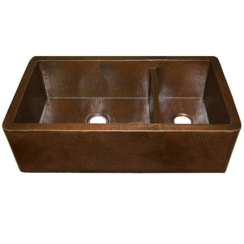 Farmhouse Duet Pro Antique Copper 40-inch Double Bowl Farmhouse Sink