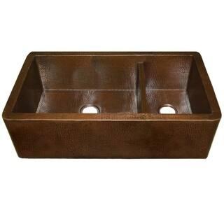 Copper kitchen sinks for less overstock farmhouse duet pro antique copper 40 inch double bowl farmhouse sink workwithnaturefo