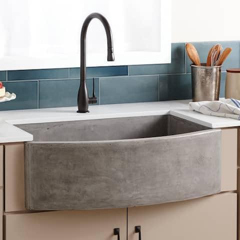 "Farmhouse Quartet 33-inch NativeStone Curved Kitchen Sink - 33"" x 20.5"" x 10.25"""