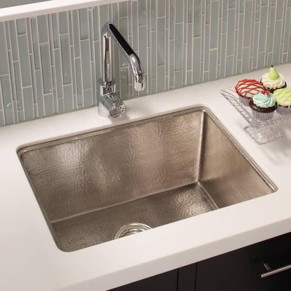 Cocina Hand Hammered Brushed Nickel 24 Inch Undermount Kitchen Sink 24 X 18 X 10 5 Overstock 18235261