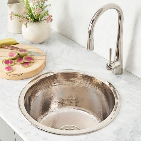 Redondo Grande Hammered Polished Nickel Universal Mount Bar Sink