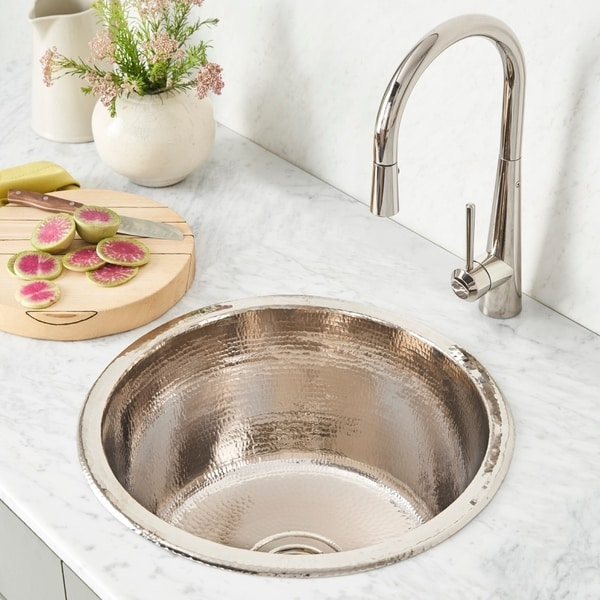Bon Shop Redondo Grande Hammered Polished Nickel Universal Mount Bar Sink    Free Shipping Today   Overstock   18235264