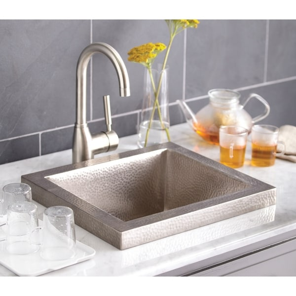 Shop Manhattan Hand Hammered Brushed Nickel Drop In Bar Sink   Free  Shipping Today   Overstock   18235267