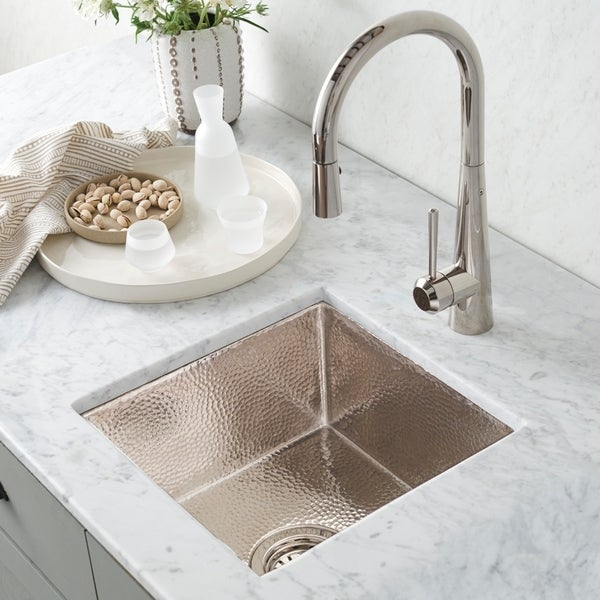 Merveilleux Shop Cantina Hammered Polished Nickel Undermount Bar/ Kitchen Prep Sink    Free Shipping Today   Overstock   18235273