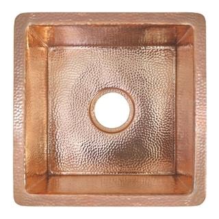 "Cantina Hammered Polished Copper Undermount Bar/ Kitchen Prep Sink - 15"" x 15"" x 7.5"""