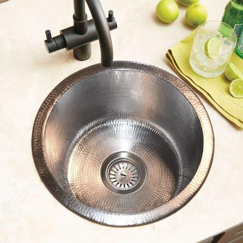 Redondo Chico Hand Hammered Brushed Nickel Universal Mount Bar Sink