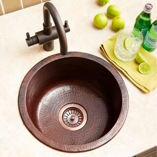 Redondo Chico Hand Hammered Antique Copper Universal Mount Bar Sink