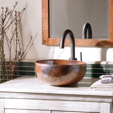 Maestro Petit Tempered Copper Vessel Round Bathroom Sink