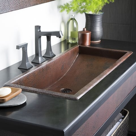 Trough Antique Copper 36-inch Undermount/ Drop-in Rectangular Bathroom Sink