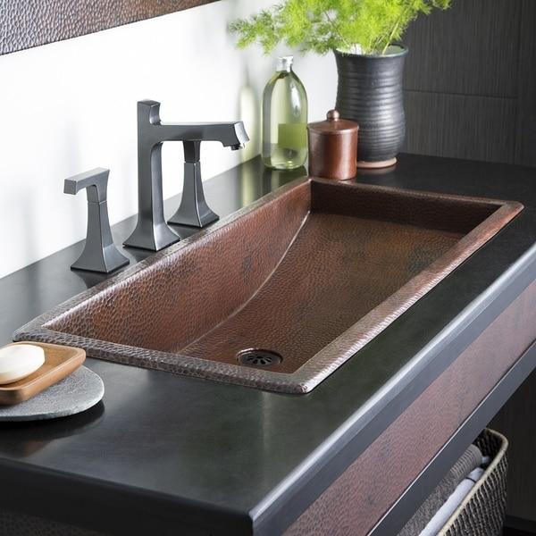 Trough Antique Copper 36 Inch Undermount Drop In Rectangular Bathroom Sink