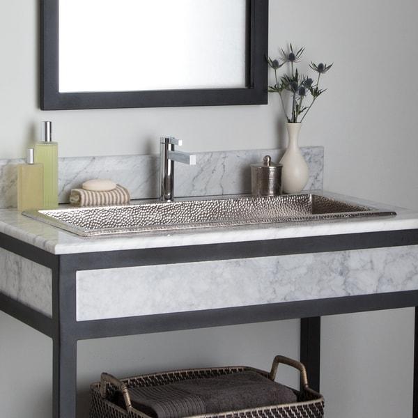 "Trough Brushed Nickel 30-inch Undermount/ Drop-in Rectangular Bathroom Sink - 30"" x 14"" x 6"" (As Is Item). Opens flyout."