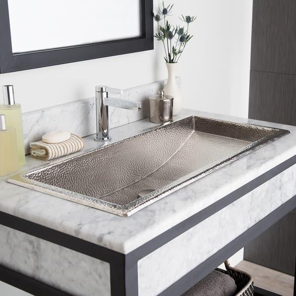 Trough Brushed Nickel 36 Inch Undermount Drop In Rectangular Bathroom Sink Overstock 18235321