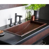 Trough Antique Copper 30-inch Undermount/ Drop-in Rectangular Bathroom Sink