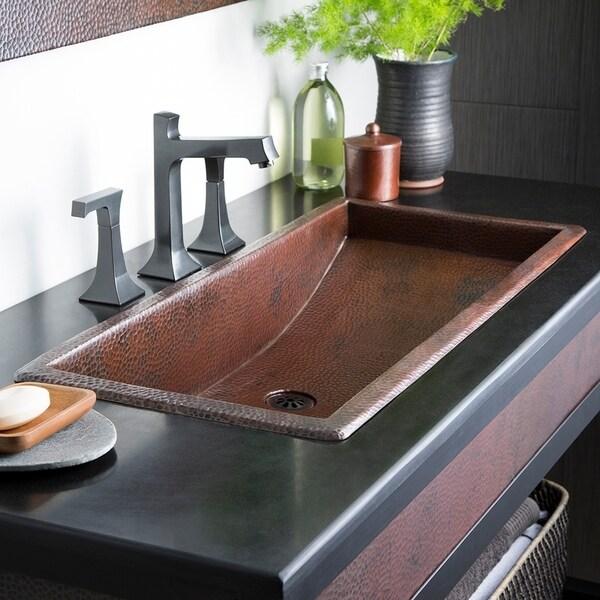 Trough Antique Copper 30 Inch Undermount Drop In Rectangular Bathroom Sink