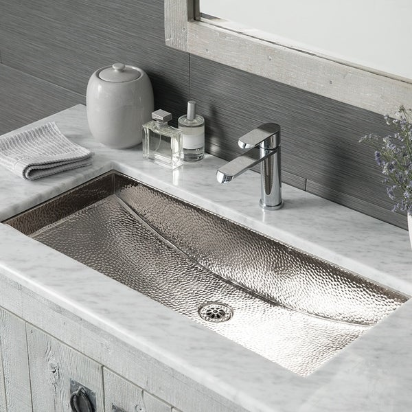 Trough Polished Nickel 30 Inch Undermount/ Drop In Rectangular Bathroom Sink    Polished