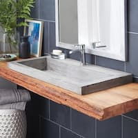 "36"" NativeStone Trough Undermount/ Drop-in Rectangular Bathroom Sink"