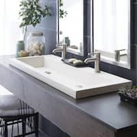 Trough 48-inch NativeStone Undermount/ Drop-in Double Bathroom Sink