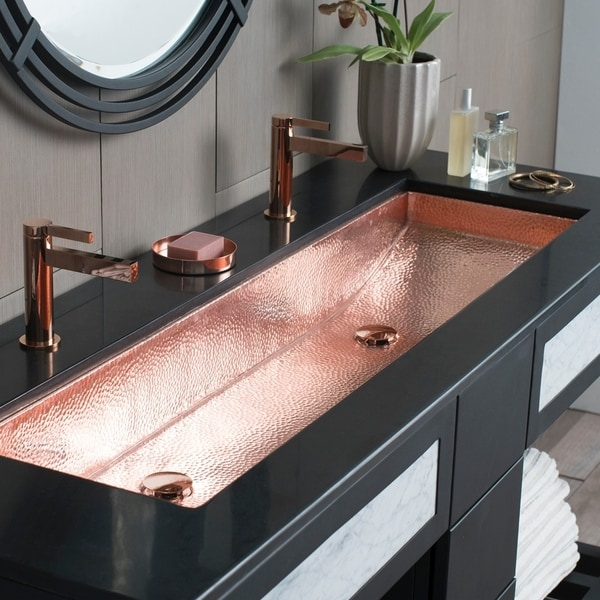 Shop trough polished copper 48 inch undermount drop in - How to replace a drop in bathroom sink ...