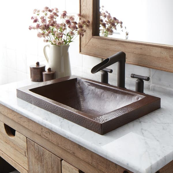 Antique Copper Drop In Bathroom Sink