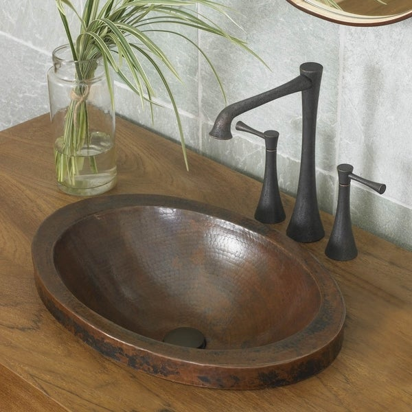 Shop Hibiscus Antique Copper Drop-in Bathroom Sink - Free Shipping ...