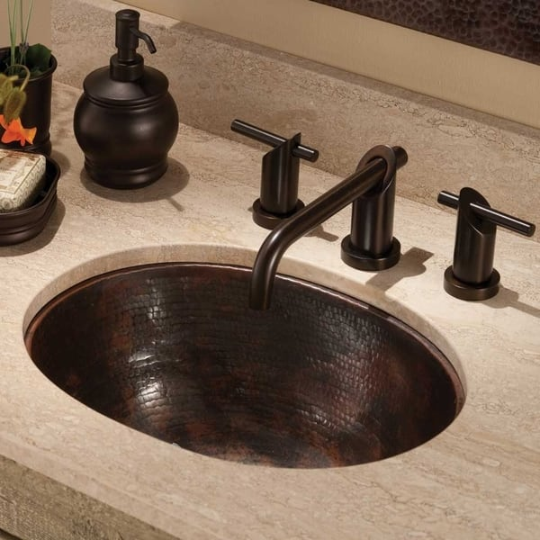 Cameo Antique Copper Undermount Drop In Oval Bathroom Sink Overstock 18235376