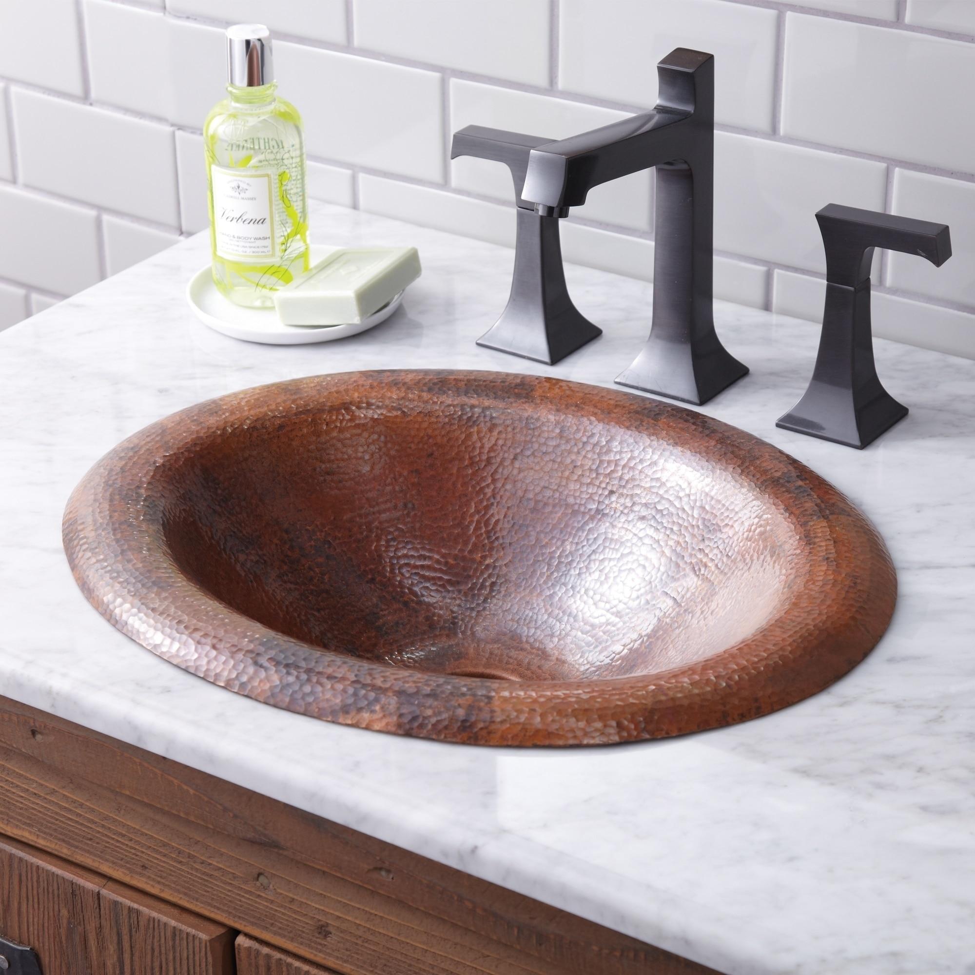 Tempered Copper Drop In Bathroom Sink