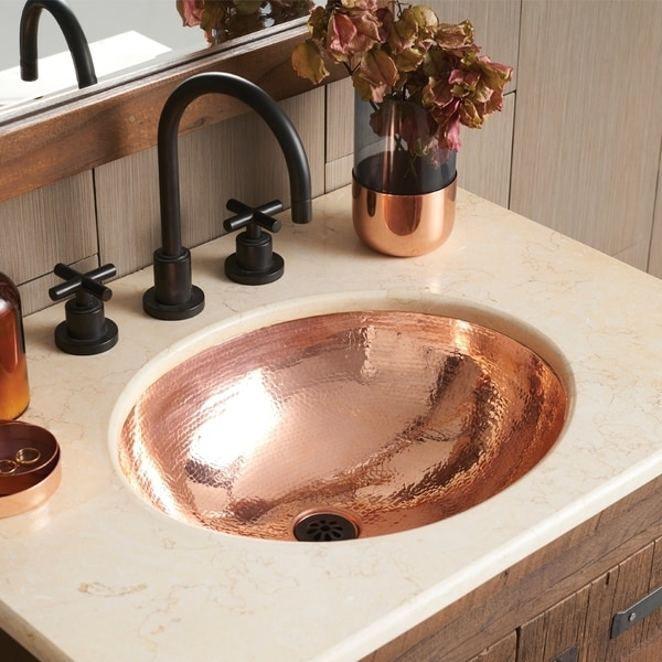 Clic Polished Copper Undermount Bathroom Sink